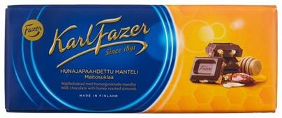 Шоколад Fazer молочный с жареным миндалем и медом