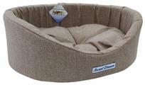 Лежак для кошек, для собак Бобровый Дворик овальный с бортиком Сладкий сон Рогожка №1 42х35х16 см