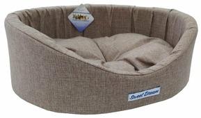 Лежак для кошек, для собак Бобровый Дворик овальный с бортиком Сладкий сон №1 42х35х16 см