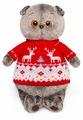 Мягкая игрушка Basik&Co Кот Басик в свитере с оленями 19 см