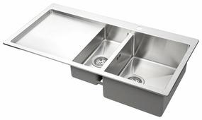 Врезная кухонная мойка AQUASANITA Luna LUN151M-R 100х51см нержавеющая сталь
