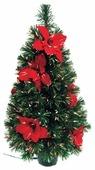 Снегурочка Ель световодная, украшенная красными цветами--