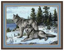 Овен Цветной Вышивка крестом Волки 40 х 30 см (567)