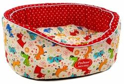 Лежак для кошек, для собак Родные места Премиум №1 Собачки с красным горошком 43х38х15 см