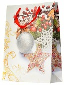 Пакет подарочный УРРА Новогодний с блестками 30х39.5х12 см