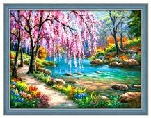 Алмазная живопись Набор алмазной вышивки Сакура у реки (АЖ-1328) 40х30 см