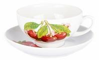 Дулёвский фарфор Чашка чайная с блюдцем Рубин Вишня 220 мл