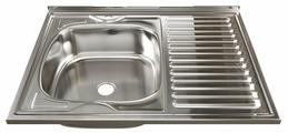 Накладная кухонная мойка Mixline 60х80 (0,4) 1 1/2 левая 80х60см нержавеющая сталь