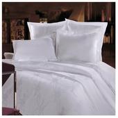 Постельное белье 1.5-спальное Mona Liza Royal Вензель белый сатин-жаккард