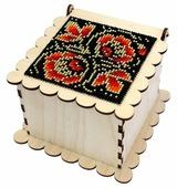 Астра Деревянная заготовка шкатулка для вышивания бисером Хохломской узор 11,5 х 11,5 х 7,5 см (L-703)