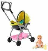 Пупс Barbie Скиппер Игра с малышом Блондин с желтой коляской, 7 см, GFC18