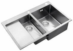 Врезная кухонная мойка ZorG INOX RX-5178-2-R 78х51см нержавеющая сталь