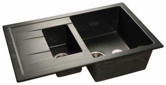 Врезная кухонная мойка GranFest Quadro GF-Q775KL 77.5х50см искусственный мрамор