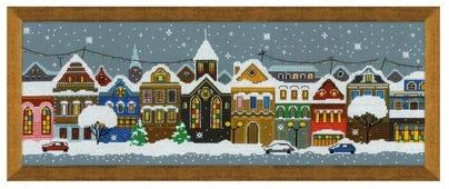 Риолис Набор для вышивания крестом Рождественский город 60 х 21 (1683)