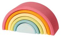 Пирамидка Grimm's Средняя Радуга, 6 деталей пастельные цвета