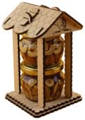 """Мед Белка Орехи (ассорти) в медовой заливке в упаковке """"Домик"""" подарочный набор"""