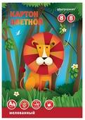 Цветной картон односторонний мелованный SchoolФормат, A4, 8 л., 8 цв.
