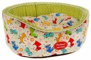Лежак для кошек, для собак Родные места Премиум №1 Собачки с оливковым горошком 43х38х15 см