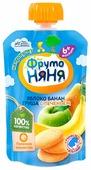 Пюре ФрутоНяня из яблок, бананов и груш с печеньем (с 6 месяцев) мягкая упаковка 90 г, 1 шт.