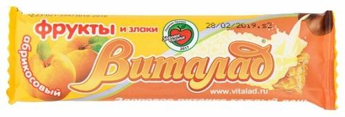 Злаковый батончик Виталад Фрукты и злаки в белой глазури Абрикосовый, 40 г