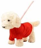 Мягкая игрушка Пушистые друзья Собачка на жестком поводке кремовая 24 см