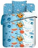 Постельное белье 1.5-спальное Василек Три кота Коржик в космосе, бязь