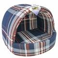 Домик для кошек, для собак Бобровый Дворик эстрада Шотландка синяя №2 44х40х36 см