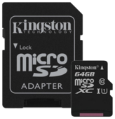 Карта памяти Kingston Canvas Select microSDXC Class 10 UHS-I U1 64GB + SD adapter (SDCS/64GB)