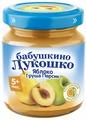 Пюре Бабушкино Лукошко яблоко, груша, персик (с 5 месяцев) стеклянная банка 100 г, 6 шт.