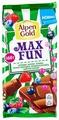 Шоколад Alpen Gold молочный Max Fun клубника, малина, черника, черная смородина, взрывная карамель, шипучие шарики