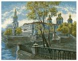 Hobby & Pro Набор для вышивания по мотивам одноименной акварели К. Куземы Никольский собор 45 х 35 см (771)