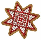 Созвездие Набор для вышивания крестом на основе Новогодняя игрушка Рождественская звезда 7,5 х 7,5 см (ИК-007)
