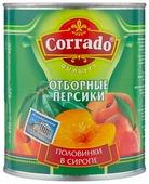 Консервированные персики Corrado половинки в сиропе, жестяная банка 820 г