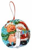 Созвездие Набор для вышивания бисером Новогодняя игрушка. Дедушка мороз 8,5 х 8,5 см (БИ-100)