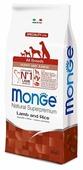 Корм для щенков Monge Speciality line для здоровья кожи и шерсти, для здоровья костей и суставов, ягненок с рисом, с картофелем (для мелких пород)