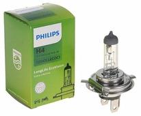 Лампа автомобильная галогенная Philips LongLife EcoVision 12342LLECOC1 H4 60/55W 1 шт.