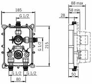 Термостатический двухрычажный смеситель для ванны с душем Oras Cubista 2888 + 7128