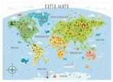 Фотообои бумажные детские Симфония Карта Мира 1.4х1м