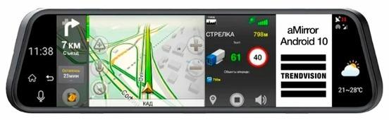 Видеорегистратор TrendVision aMirror 10 Android, 2 камеры, GPS