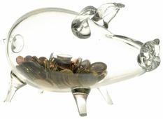 Копилка Grifeldecor Кабанчик, стекло, 10x16x22 см, прозрачный