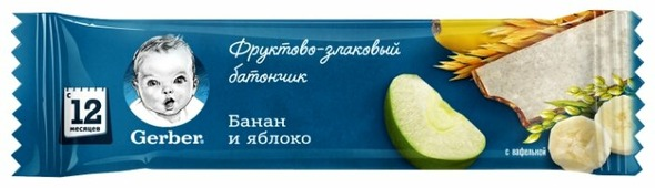 Батончик Gerber фруктово-злаковый с яблоком и бананом (с 1-го года)