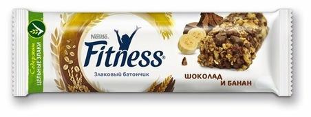 Злаковый батончик Nestle Fitness Шоколад и банан, 23.5 г