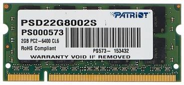 Оперативная память 2 ГБ 1 шт. Patriot Memory PSD22G8002S