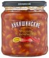 Фасоль Лукашинские печеная по-кавказски в аджике, стеклянная банка 460 г