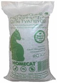 Наполнитель Homecat Древесный мелкие гранулы (20 кг)