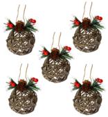 Набор шаров УРРА Новый Год плетеные из бересты