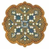 Созвездие Набор для вышивания крестом на основе Новогодняя игрушка Снежинка 6,5 х 6,5 см (ИК-004)