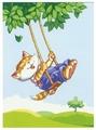 Канва для вышивания с рисунком Collection d'Art Кот на качелях 22 х 30 см