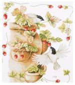 Lanarte Набор для вышивания Птички и земляника 30 х 33 см (0168599-PN)