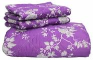Комплект с покрывалом Нежность Настурция 220х240 см с наволочками (фиолетовый с цветами)